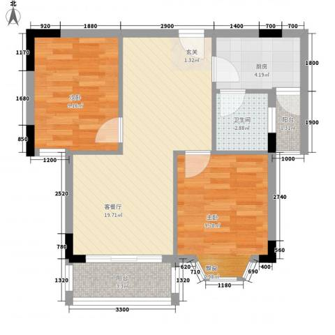 东花园河南2室1厅1卫1厨57.52㎡户型图