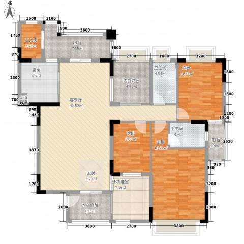 五洲康城3室1厅2卫1厨156.00㎡户型图
