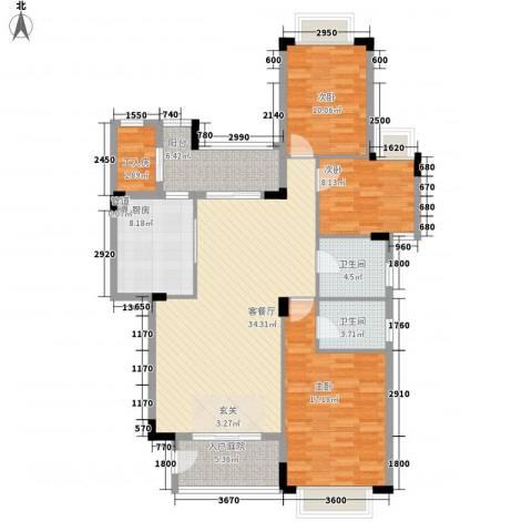 五洲康城3室1厅2卫1厨100.81㎡户型图