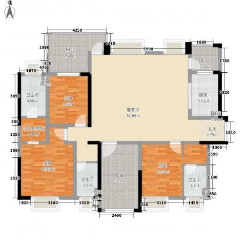 骏马山庄三期3室1厅3卫1厨135.27㎡户型图