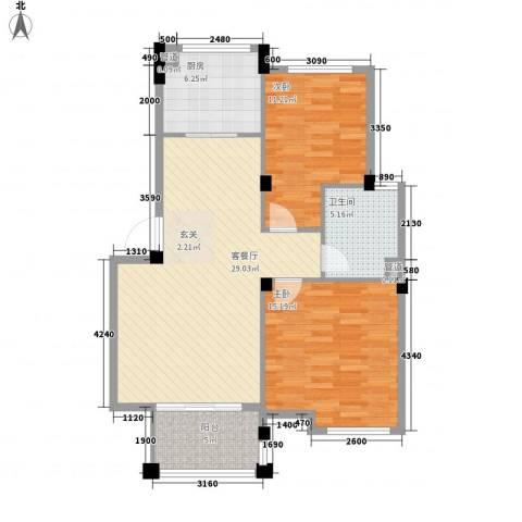 龙山山庄2室1厅1卫1厨100.00㎡户型图