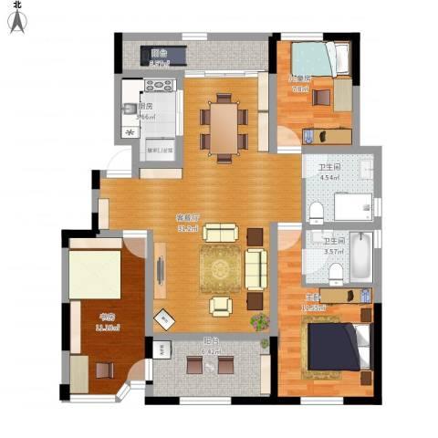 金浦御龙湾3室1厅2卫1厨123.00㎡户型图