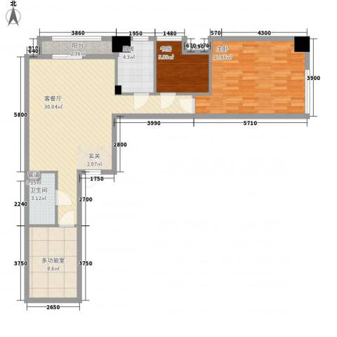红星国际广场2室1厅1卫1厨117.00㎡户型图