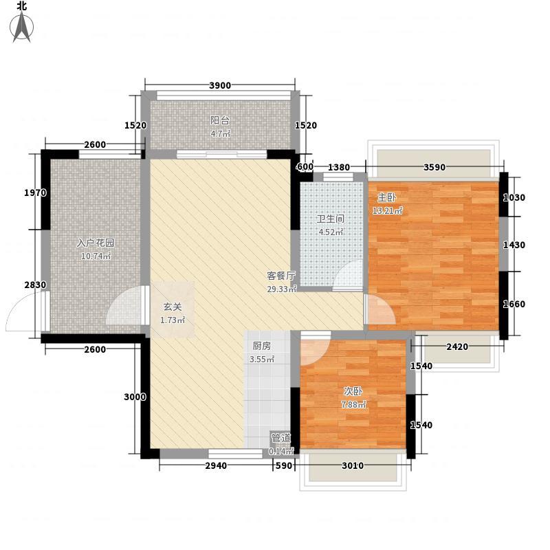业和・丰门盛世88.46㎡B-2户型2室2厅1卫1厨