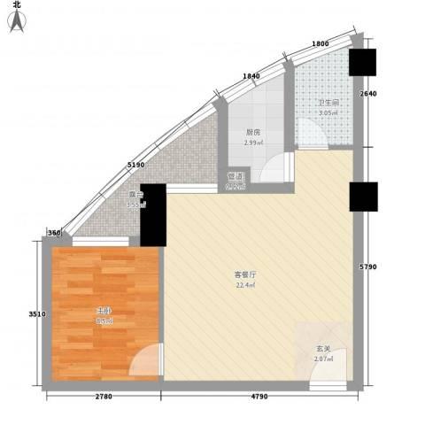 康鹏大厦1室1厅1卫1厨48.00㎡户型图