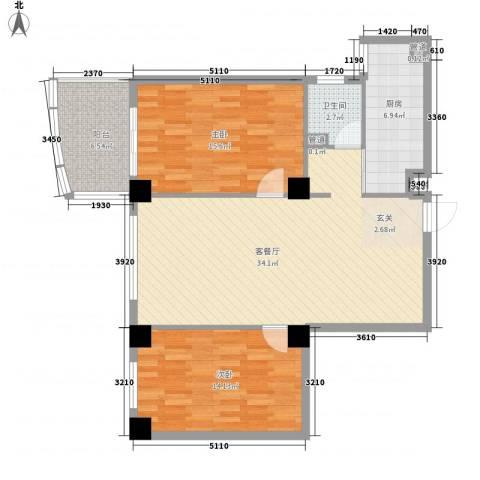 康鹏大厦2室1厅1卫1厨90.06㎡户型图