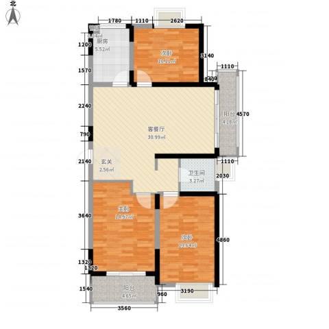 华夏春晓3室1厅1卫1厨125.00㎡户型图