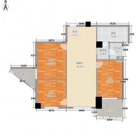 康鹏大厦3室1厅1卫1厨119.53㎡户型图