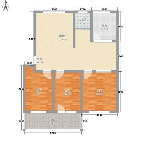 凤栖苑3室1厅1卫1厨125.00㎡户型图