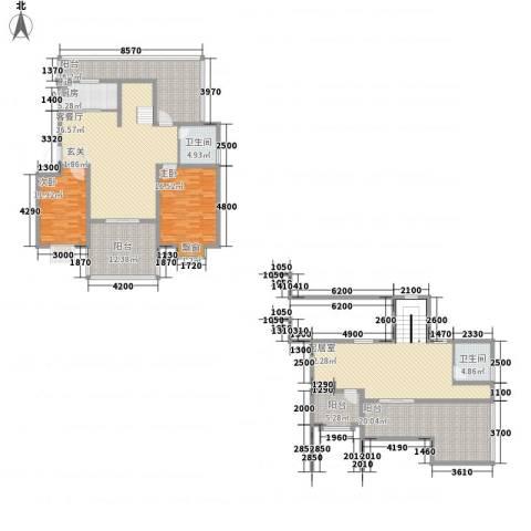 新高・西城国际2室1厅2卫1厨166.29㎡户型图