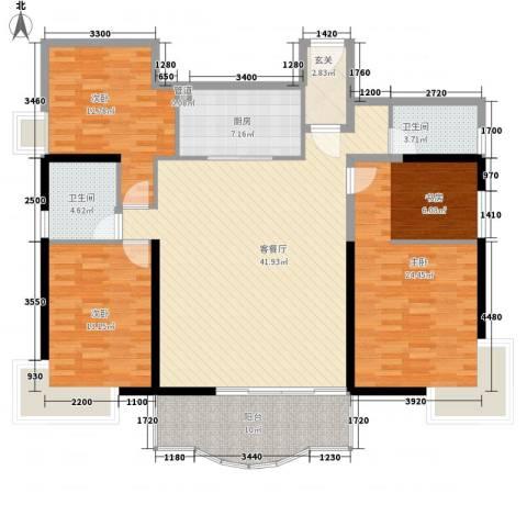 金海湾3室1厅2卫1厨164.00㎡户型图