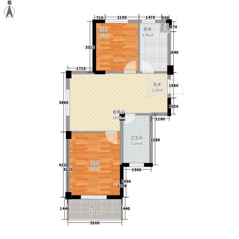 阳光逸城7.00㎡E户型2室2厅1卫1厨
