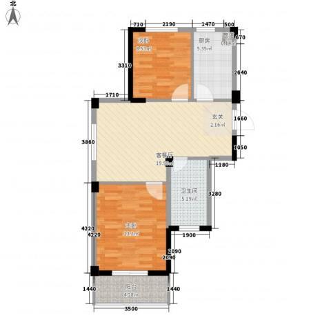 阳光逸城2室1厅1卫1厨56.68㎡户型图
