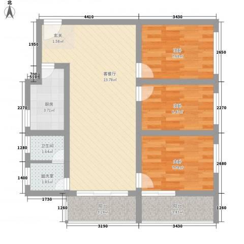 一德名苑3室1厅1卫1厨88.00㎡户型图