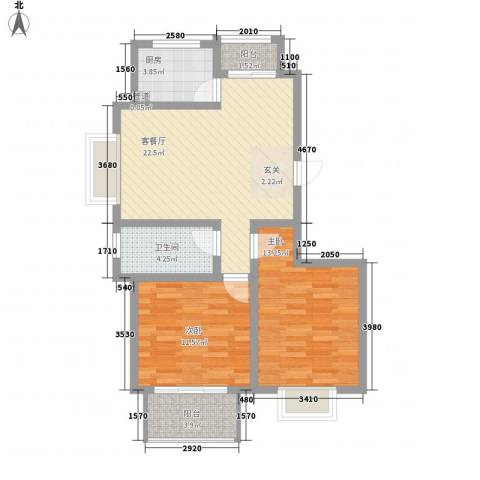 翠园世家2室1厅1卫1厨89.00㎡户型图