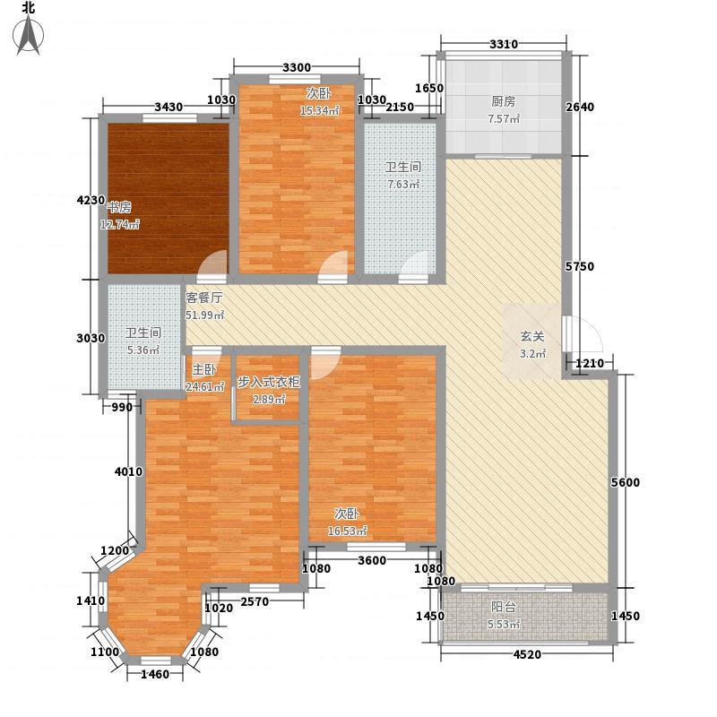 金九华府174.00㎡A2型户型4室2厅2卫1厨