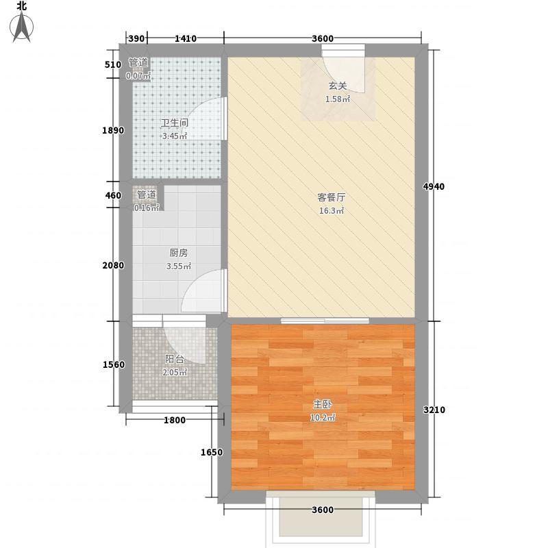 万和城53.00㎡E3户型1室1厅1卫