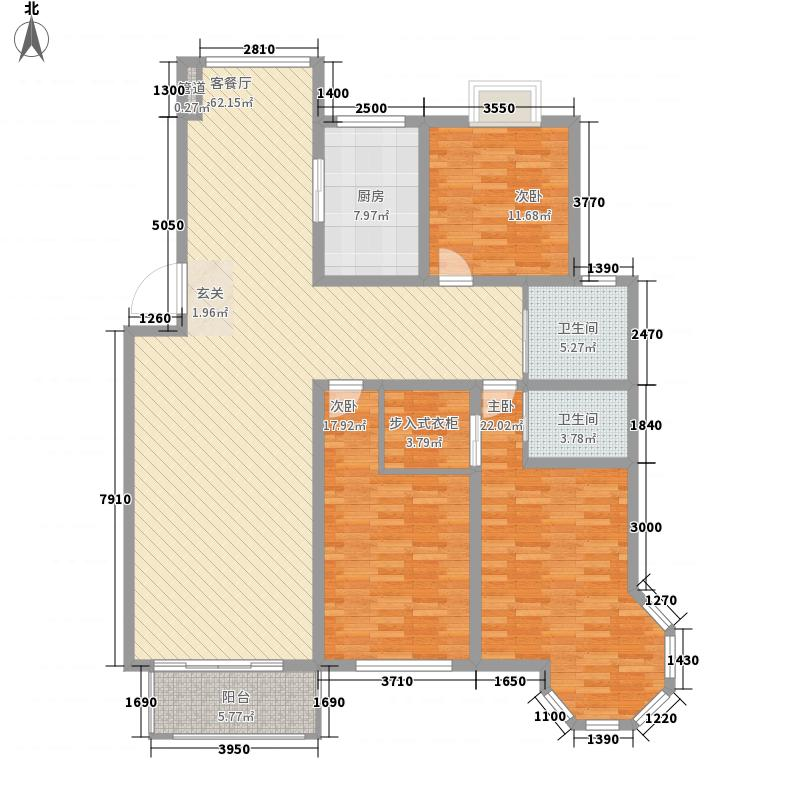 金九华府F-2型户型3室2厅2卫1厨