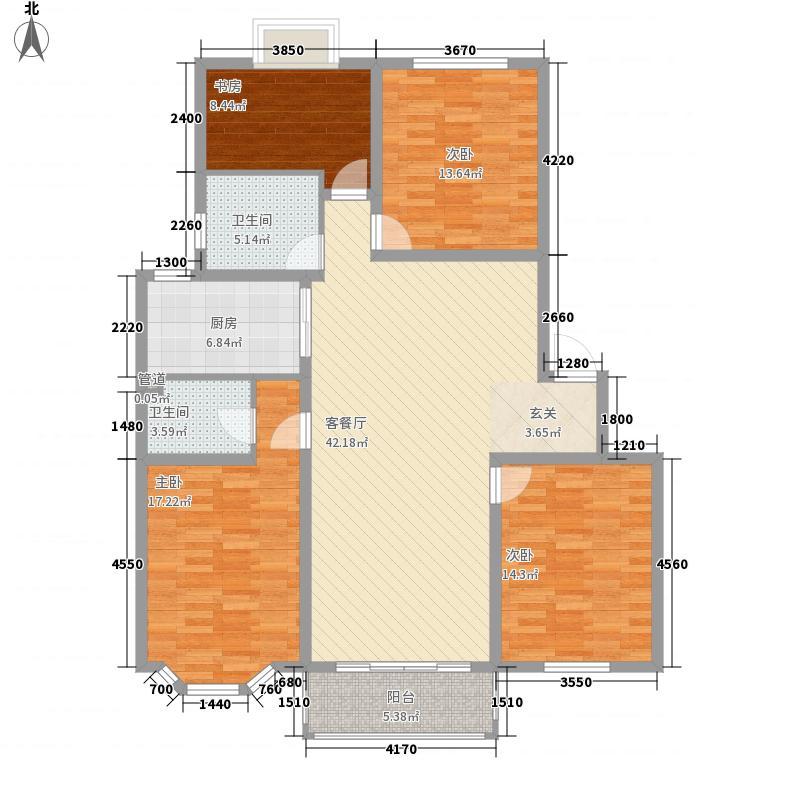 金九华府14.00㎡A4-1型户型4室2厅2卫1厨