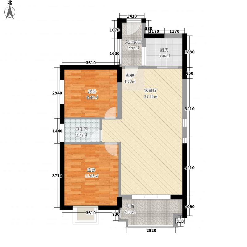海晟维多利亚8.00㎡2#楼0203户型2室2厅1卫1厨
