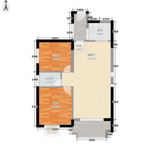 海晟维多利亚2室1厅1卫1厨60.89㎡户型图