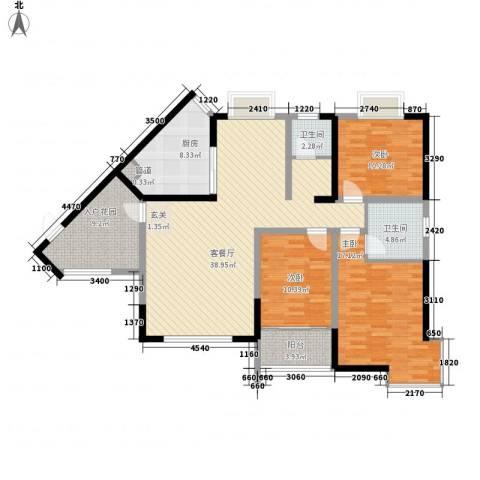 佳兆业水岸山城公寓3室1厅2卫1厨151.00㎡户型图