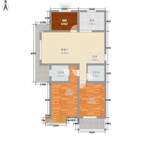 水岸人家3室1厅2卫1厨126.00㎡户型图