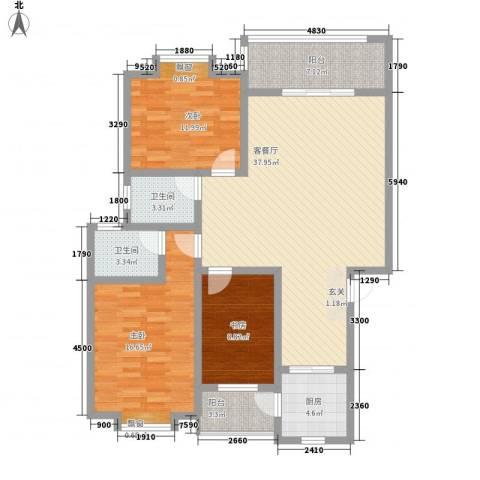 双语雅苑3室1厅2卫1厨140.00㎡户型图