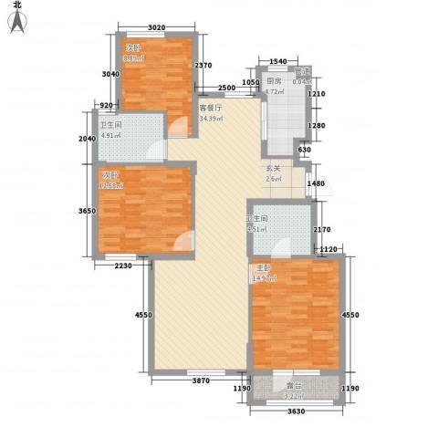 郡原・美村3室1厅2卫1厨126.00㎡户型图