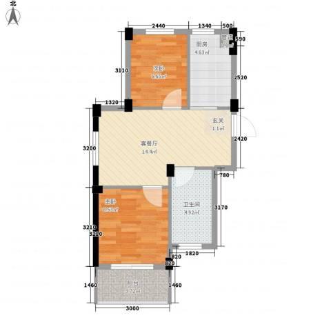 阳光逸城2室1厅1卫1厨62.00㎡户型图