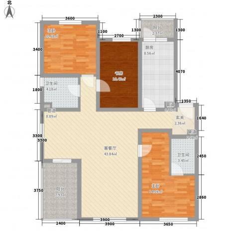 燕宇艺术家园3室1厅2卫1厨145.00㎡户型图