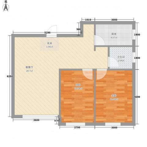 泓福苑2室1厅1卫1厨82.00㎡户型图