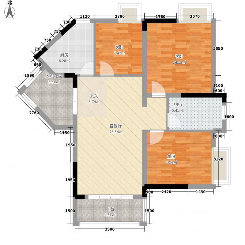 东林美域96.00㎡东林美域户型图花样年华C户型3室2厅1卫户型3室2厅1卫