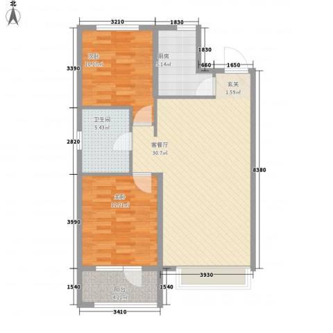 博辉万象城2室1厅1卫1厨67.97㎡户型图