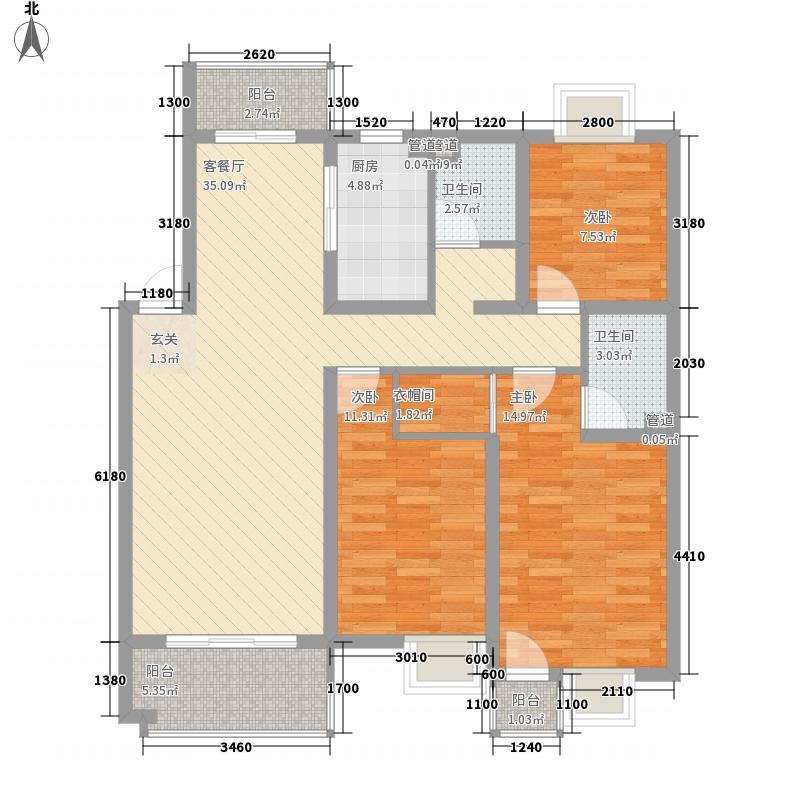 岸上玫瑰130.67㎡岸上玫瑰户型图2B型3室2厅2卫户型3室2厅2卫