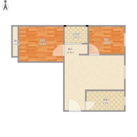 康泽佳苑2室1厅1卫1厨66.00㎡户型图