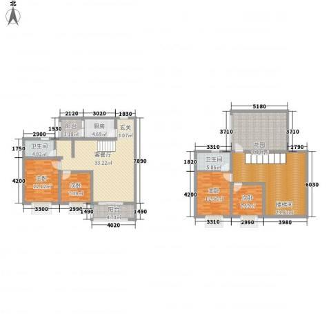 双语雅苑4室1厅2卫1厨203.00㎡户型图