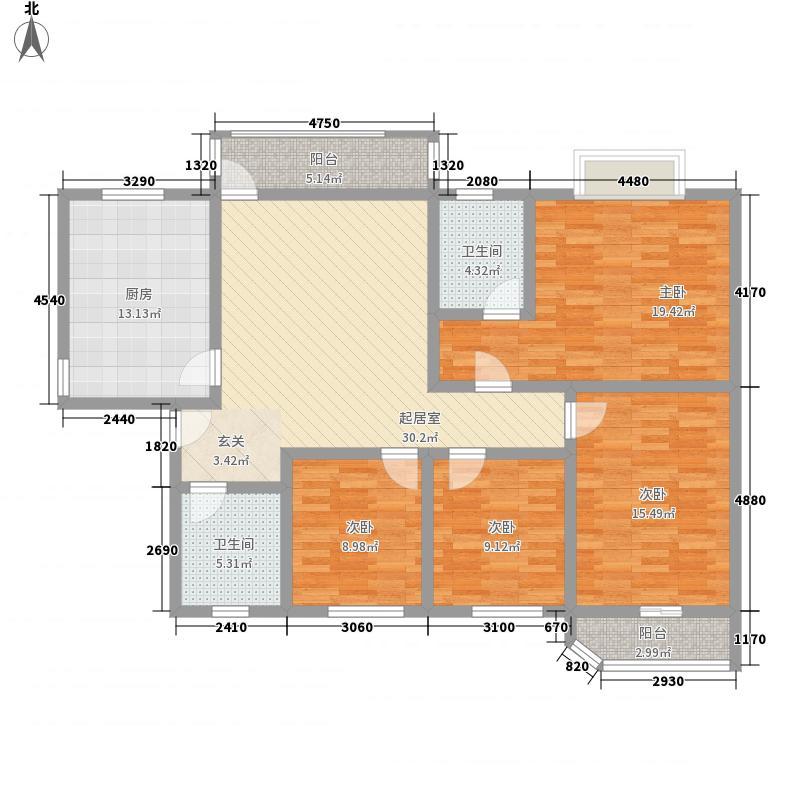 时代花园4居户型4室2厅2卫1厨