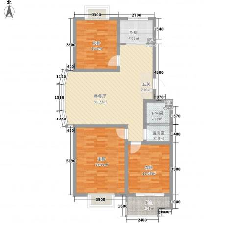 腾骐骏安3室1厅1卫1厨110.00㎡户型图