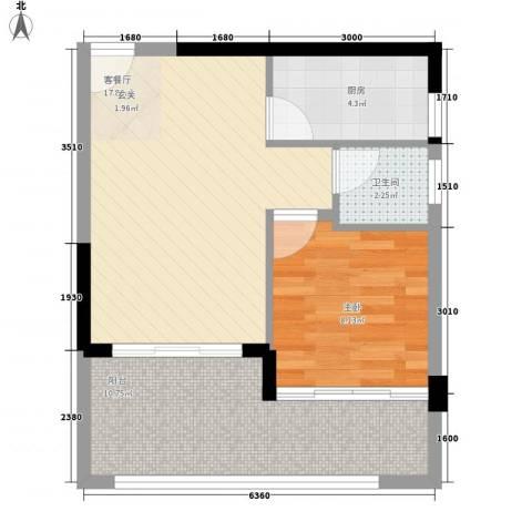 中兴苑1室1厅1卫1厨62.00㎡户型图