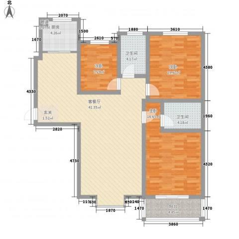 迎西城・建安佳园3室1厅2卫1厨138.00㎡户型图