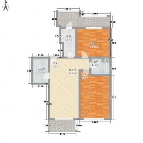 名人雅居沪贵苑2室1厅2卫1厨108.71㎡户型图