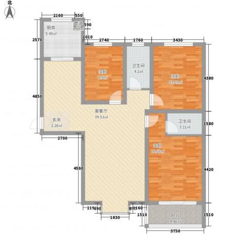 迎西城・建安佳园3室1厅2卫1厨137.00㎡户型图