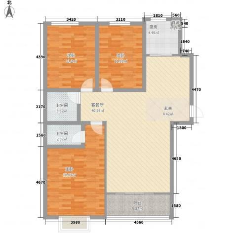 迎西城・建安佳园3室1厅2卫1厨143.00㎡户型图