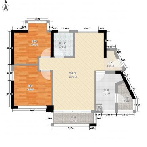 禾田居曼湾2室1厅1卫1厨68.00㎡户型图