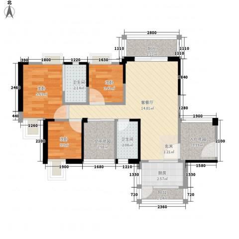 禾田居曼湾3室1厅2卫1厨63.00㎡户型图