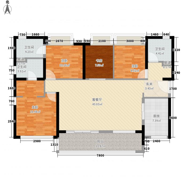万科公园6号15.00㎡C户型4室2厅3卫1厨