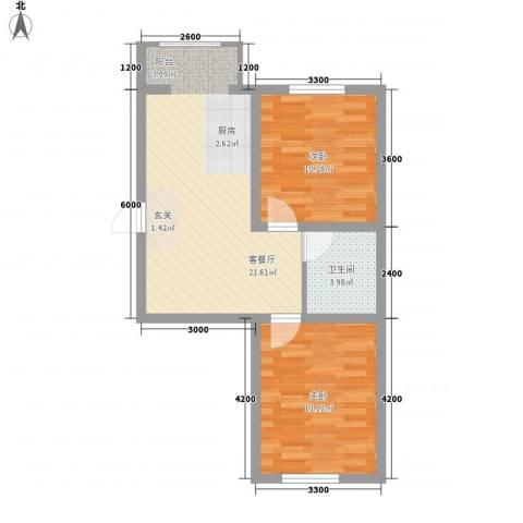 东正富贵雅居2室1厅1卫0厨65.00㎡户型图