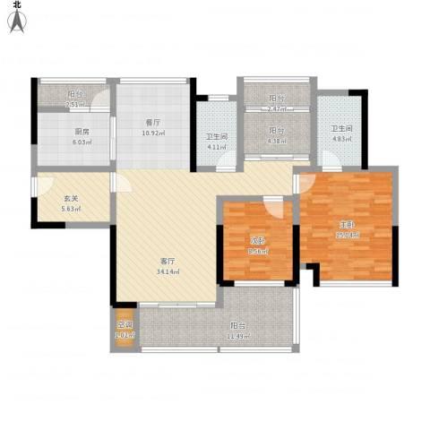 中海万锦东苑2室1厅2卫1厨147.00㎡户型图