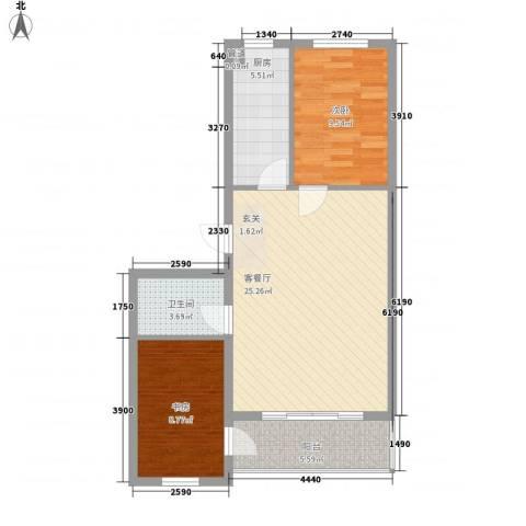 万盛凯二期2室1厅1卫1厨87.00㎡户型图